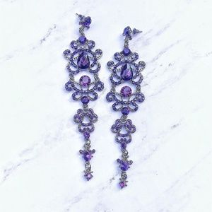 ❄️ Purple Rhinestone Bridal Earrings ❄️